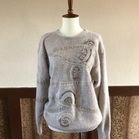 I.B. Diffusion Sweaters - Vintage 1989 Luxury Angora & Silk Beaded  Sweater